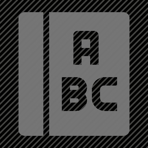 alphabet, book, language arts icon