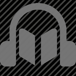 audio book, book, headphones icon