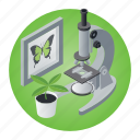biology, butterfly, education, microscope, plant, research, school icon