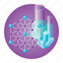 chemistry, crystal, education, experiment, molecule, school, test-tube icon