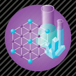chemistry, crystal, education, experiment, molecule, school, test-tube icon
