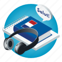 book, france, french, headphones, language, school, subject icon