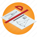 compasses, education, geometry, mathematics, protractor, school, subject icon