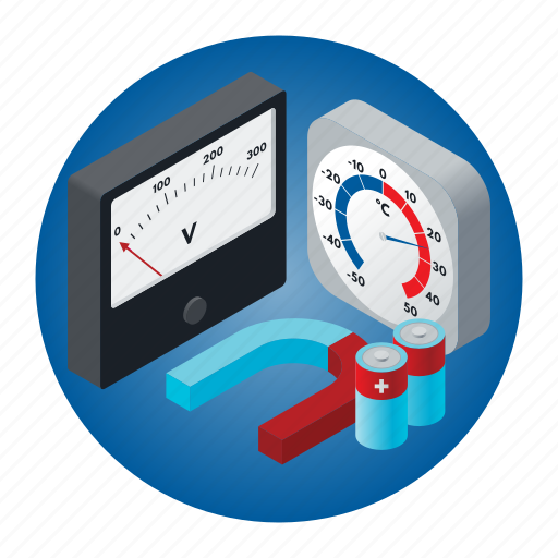 electric battery, magnet, physics, school, science, thermometer, voltmeter icon