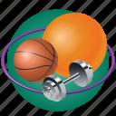 ball, dumbbells, gymnastics, hoop, school, sport, volleyball icon