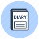 diary, notebook, school icon