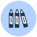 crayons, drawing, school, supplies, tool icon