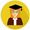 avatar, female, gratueted, person, student, university, woman icon