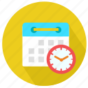 calendar, clock, date, deadline, hour, minutes, time icon