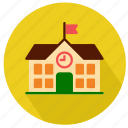 building, college, flag, knowlwage, primary, school, student icon