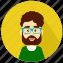 avatar, hipster, man, professor, school, student, teacher icon