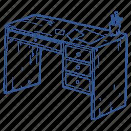 desk, desktop, office, school, table, work, working table icon