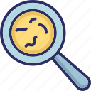 bacteria, examine, germs, magnifier icon