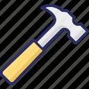 claw hammer, hammer, hand tool, nail hammer icon