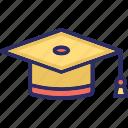 achievement, certificate cap, graduation cap, graduation hat icon