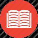 book, book reading, open book, study icon