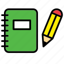 book, notebook, pencil, school, science icon