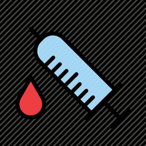 blood, hospital, instrument, medical, medicine, science, syringe icon