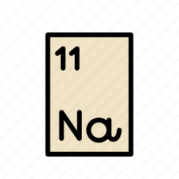 atomic number, chemical, element, na, periodic table, science, sodium icon