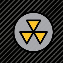 hazard, hazard symbol, radiation, radioactive, radioactivity, sign, warning icon