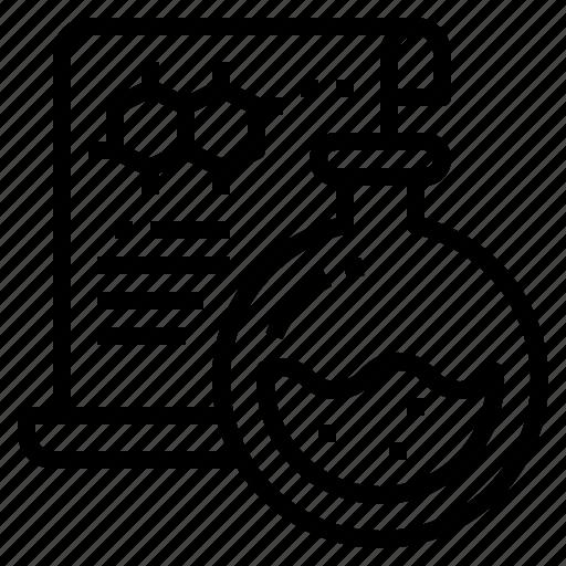 diagram, flasks, formula, science icon