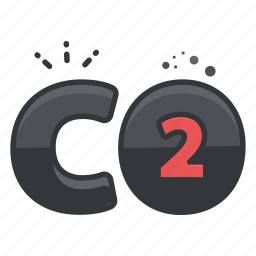 carbon, chemistry, compound, dioxide, science icon