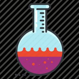 lab, laboratory, round, science, test, tube icon