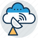 space antenna, space satellite, wireless cloud, wireless communication, wireless technology icon