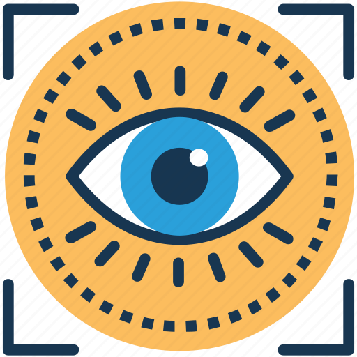 focal point, focus, optical recognition, optical scanner, retina scan icon