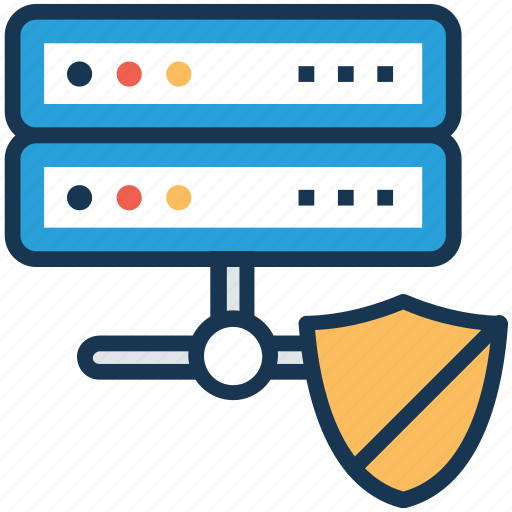 data storage protection, database security, internet security, network server with shield, secure database icon