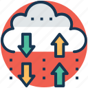 cloud arrows, cloud computing, cloud data transfer service, cloud exchange arrows, upload and download icon