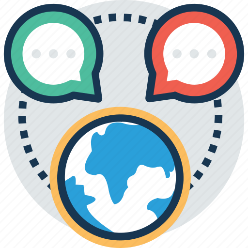 global communication, global news, international connection, online communication, worldwide information icon