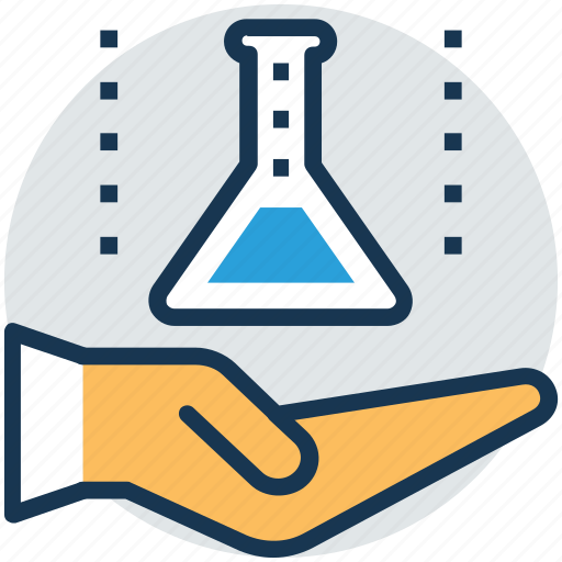 hand holding beaker, lab assistant, lab attendant, lab care, scientist icon