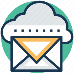 cloud communication, cloud emailing, cloud mail service, cloud reporting, wireless mailing system icon