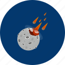asteroid, danger, fire, object, planet, science, universe icon