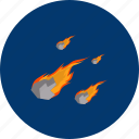 asteroid, danger, fire, meteor, object, planet, science, universe icon