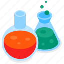 flasks, laboratory, equipment, science icon