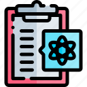 clipboard, education, knowledge, logic, science icon