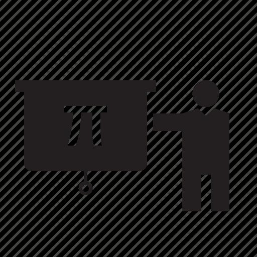 Blackboard, number, pi, science, sign, teacher icon - Download on Iconfinder