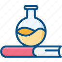 book, education, experiment, laboratory, science, test tube icon icon