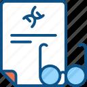 dna, experement, paper, print, report, science report icon, scinece icon