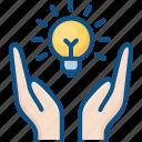 bulb, care, energy, hand, idea, lamp, light, saving icon icon