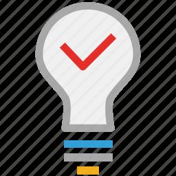 bulb, light bulb, power, tick sign icon