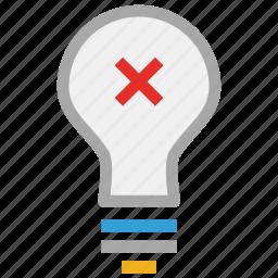 bulb, cross sign, light bulb, power icon