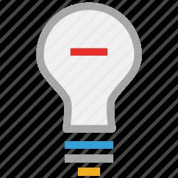 bulb, light bulb, minus sign, power icon