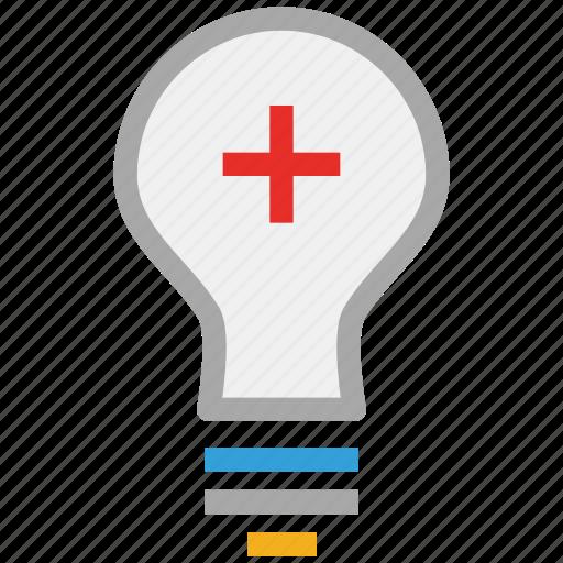 add symbol, bulb, light bulb, sign icon