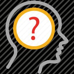 brain, frustration, question mark, think icon