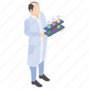 lab experiment, lab worker, laboratory test, scientific laboratory, test tubes icon