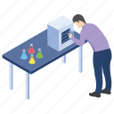 chemical testing, lab experiment, lab worker, laboratory test, scientific lab icon