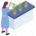 botany experiment, lab experiment, laboratory test, plant research, scientific lab icon